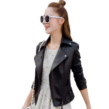 2018 Spring Summer Ms Slim Motorcycle PU Leather Female Short Leather Jacket Motorcycle Jacket Slim Women's Leather Jacket