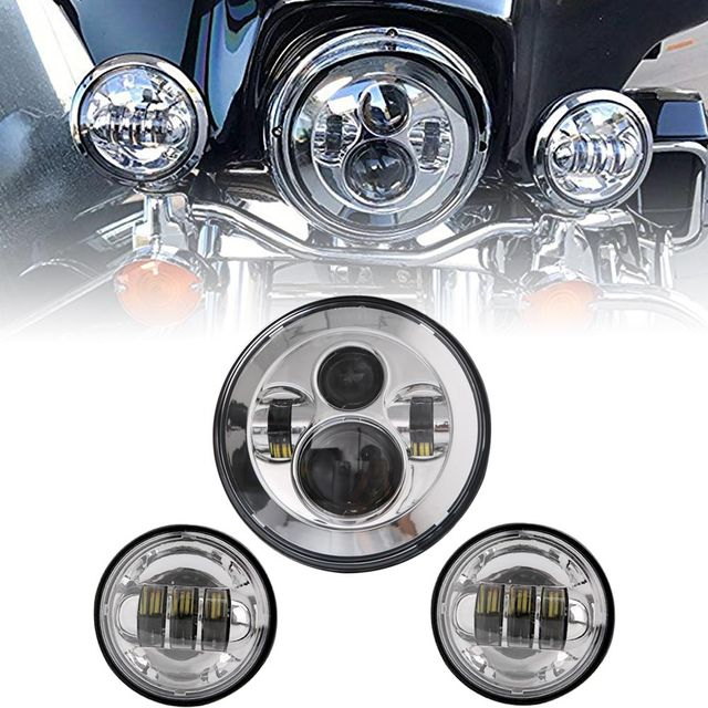 7 Inch motor  LED Headlight 4.5 Inch Fog Lamps For Harley Motorcycle Electra Glide Softail Fat Boy Touring