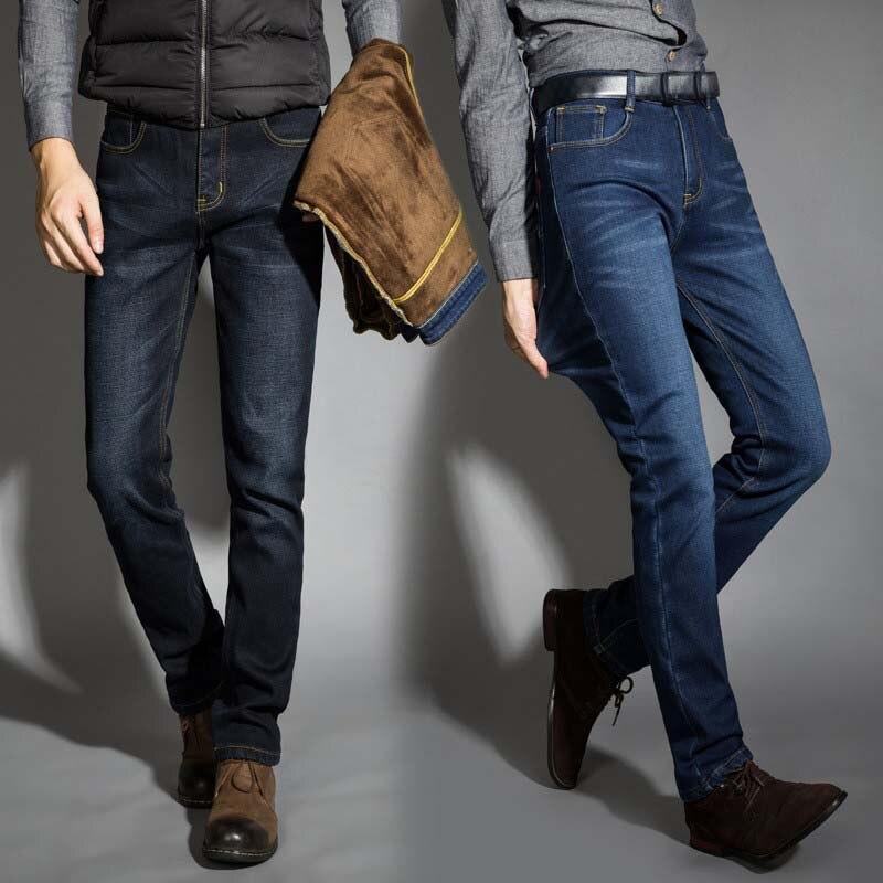 2019 neue Männer Aktivitäten Warme Jeans Hohe Qualität Berühmte Marke Herbst Winter Jeans warme beflockung warme weiche männer jeans