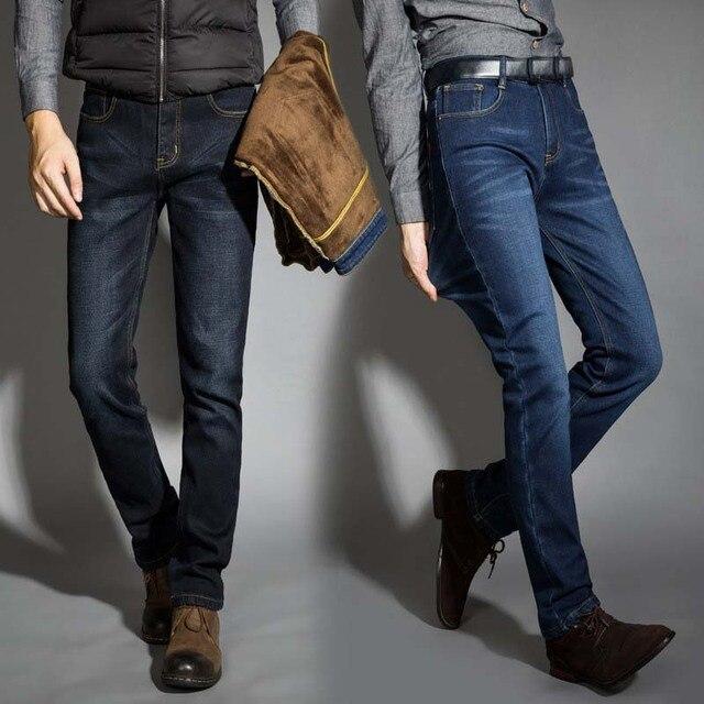 2019 новые мужские теплые джинсы высокого качества Известные брендовые осенние зимние джинсы теплые флокированные теплые мягкие мужские джинсы