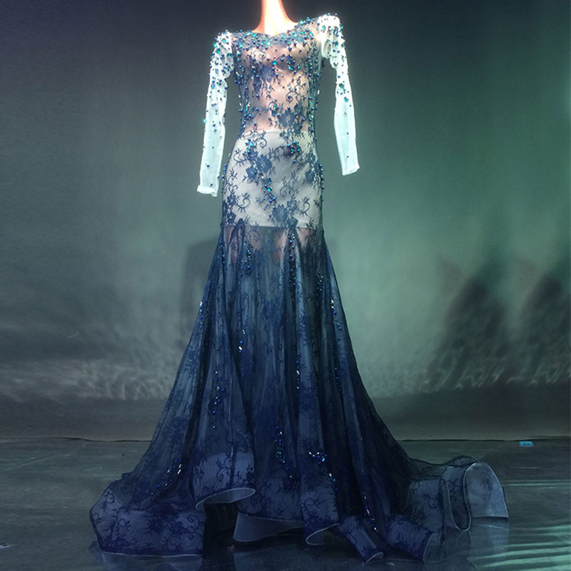 Dark blue crystal stage long sleeve dress sexy See Through backless Long Big Tail Dress Prom Birthday Celebrate Dresses