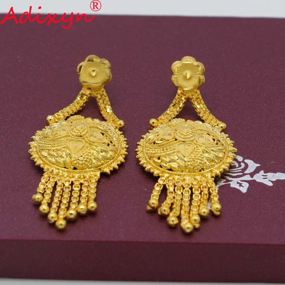 Adixyn New Tassel Earrings Jewelry For Women/Girls Gold Color/Copper For African/Ethiopian/Dubai Wedding/Party Gifts N08264 4