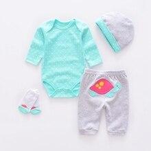 Sets 4 pcs long sleeve baby jumpsuit 100% cotton