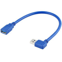 CY 5pcs High quality 90 Degree Right / Left Angled USB 3.0  A Male to Female Extension Cable 30cm  Blue color