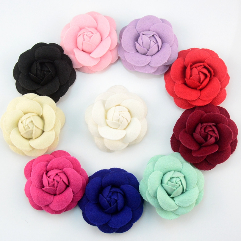 10pcs/lot 6.5cm Blooming Felt Camellia Fabric Flower Girls Apparel And Headband Accessories For Hair Bows Wholesale Craft DIY  2016 trendy fabric blooming peony flower corsage brooch woman hair decorations