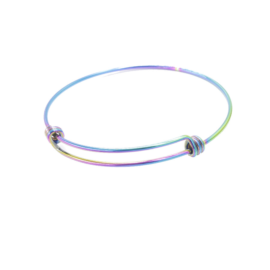 Fnixtar 1 6mm Rainbow Color Stainless Steel Wrist Bracelet Bangle Expandable Wire Bangle Wholesale 55 60