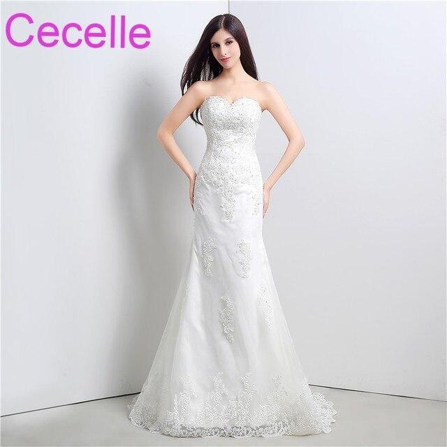 Mermaid Long Wedding Dresses 2018 Sweetheart Beaded Lace Lace Up ...