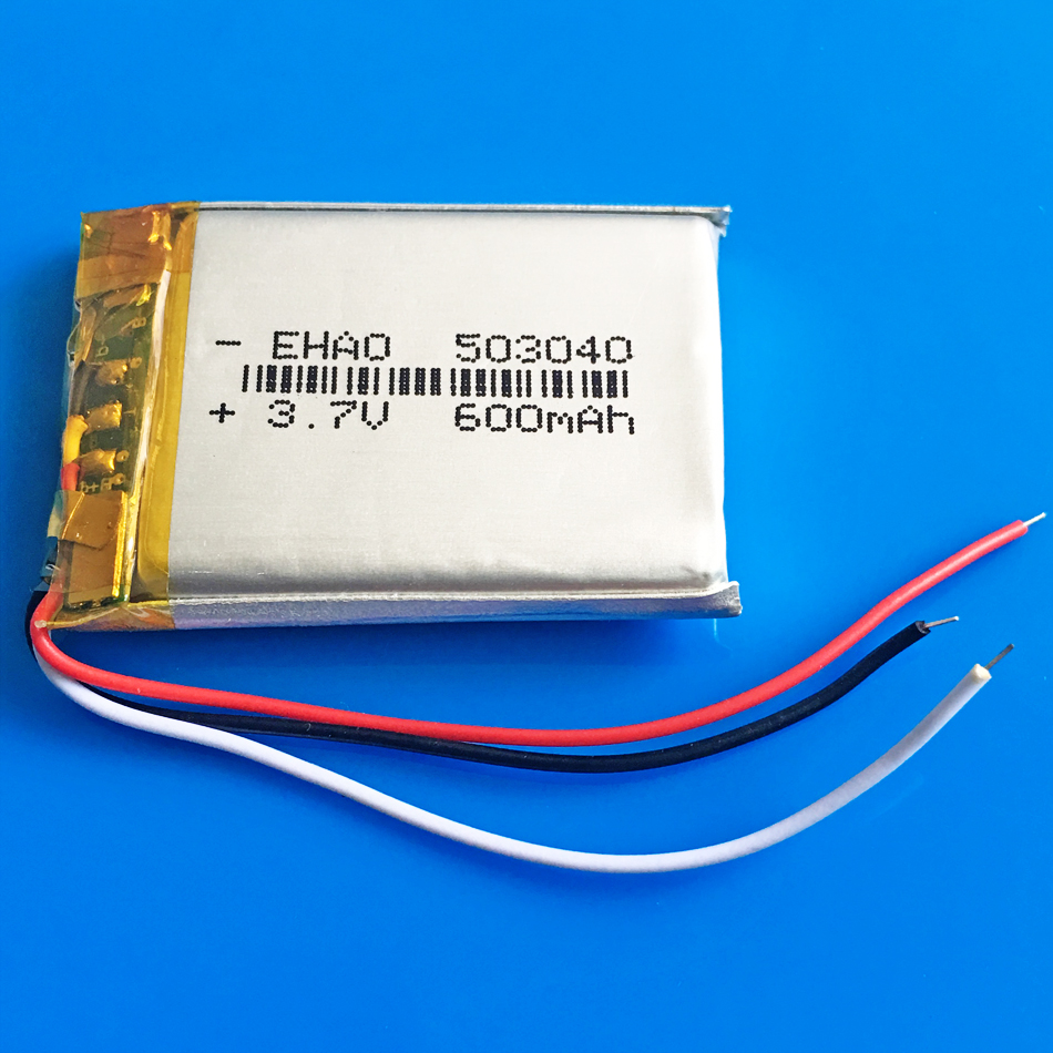 <font><b>3.7V</b></font> <font><b>600mAh</b></font> 503040 rechargeable batter lipo 3 wires polymer lithium for MP3 GPS DVD bluetooth speaker recorder ebook camera image