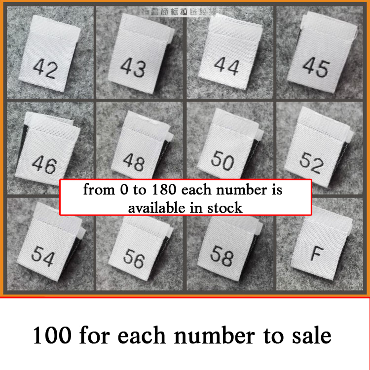 100Pcs White Woven Sewing Clothing Size Tag Label Number 1,2,3,4,5,6,7,8,9,10