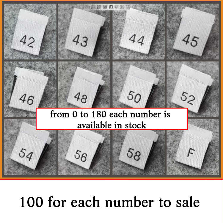 SIXTEEN 50 pcs WOVEN WHITE CLOTHING SEWING SIZE LABELS SIZE 16