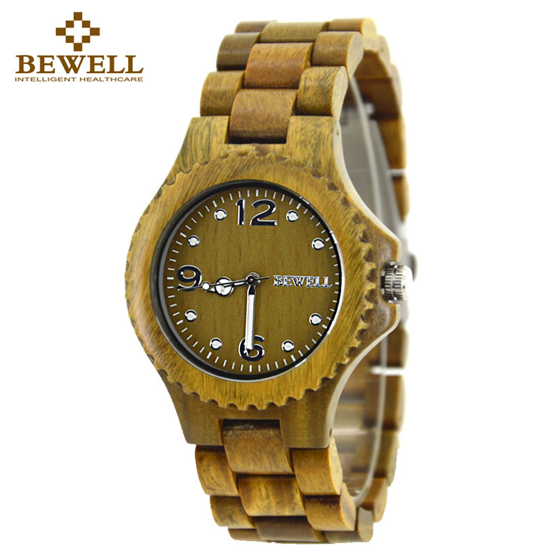 BEWELL Unisex Green Wood Watch Men Women Clock Ladies Watch Mens Watches Top Brand Luxury  Analog Digital With Paper Box 038A bewell 2017 hot sale fashion wood watch men mens watches top brand luxury reloj hombre big horloges mannen with gift box 100ag