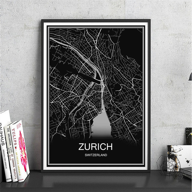 Hot sale zurich canvas coated paper world map oil painting modern city poster abstract print picture