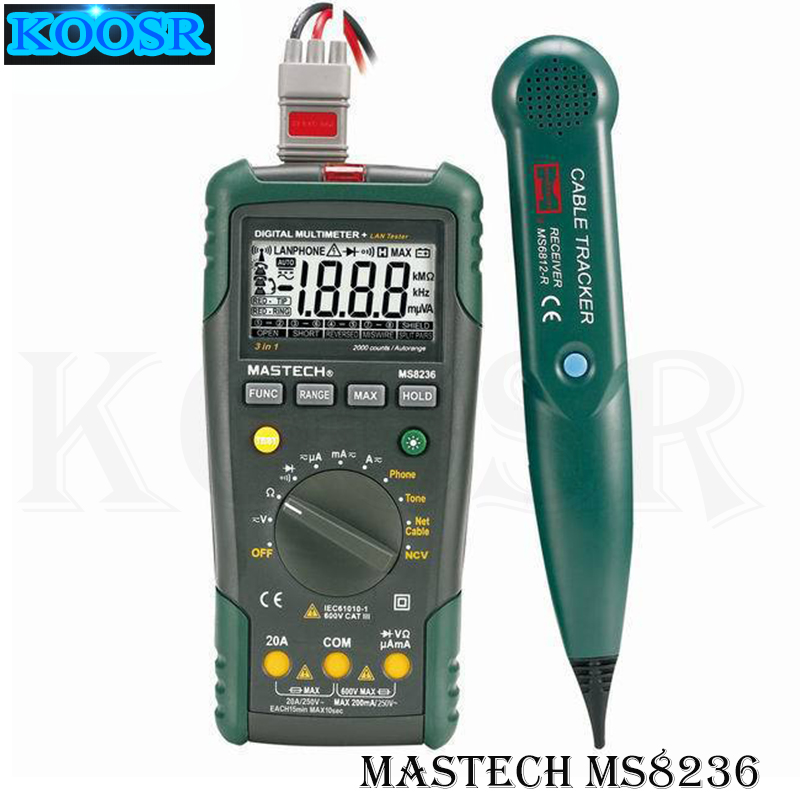 MASTECH MS8236 Digital Auto Range Multimeter LAN Tester Net Cable Tracker Tone Telephone line Check Non