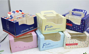 """Free Shipping 20pcs/lot 6 Color Available Mini 6"""" Portable Cheese Cake Box With PVC Window Size 15.8*15.8*9.1cm"""