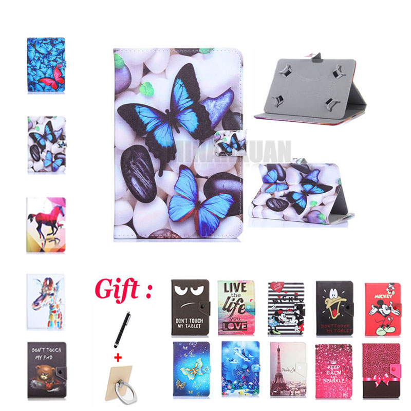 Universal 10.1 inch Cartoon Printed Pu Leather Stand <font><b>Case</b></font> Cover For LG G Pad Gpad 10.1 <font><b>V700</b></font> VK700 10.1