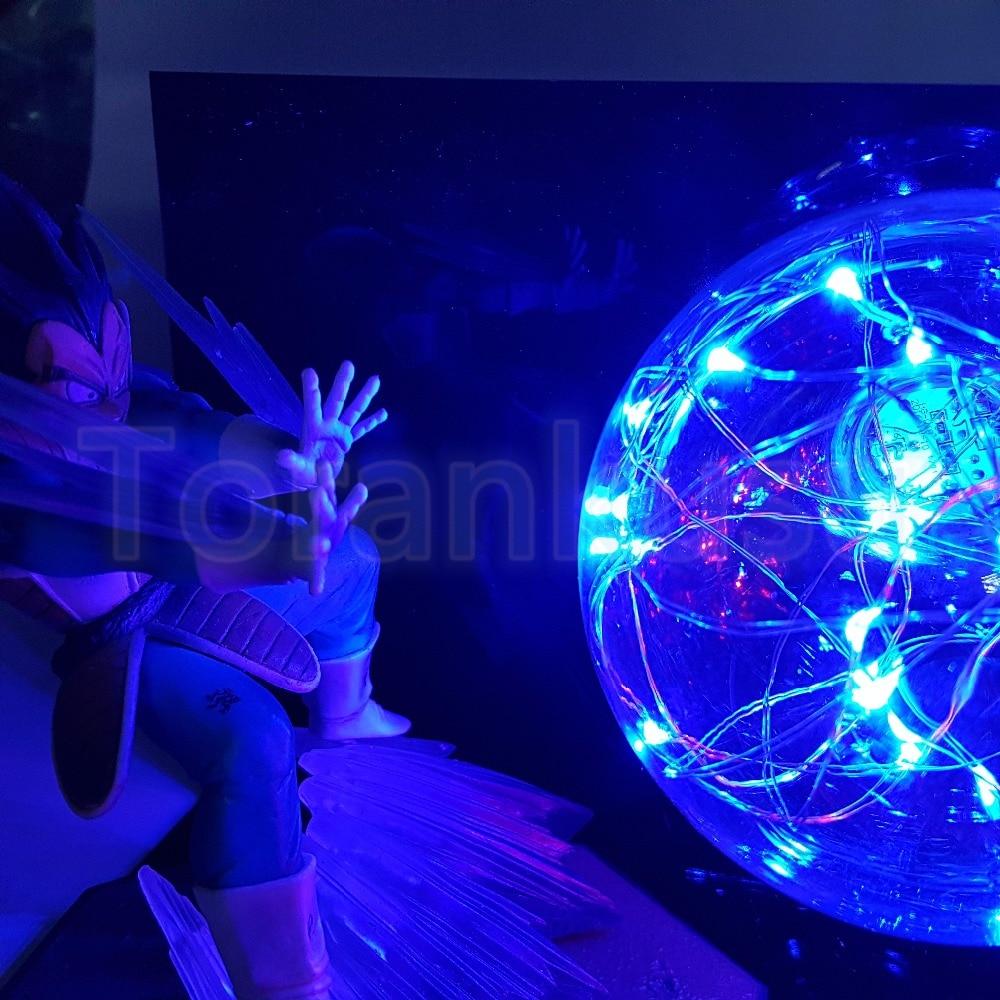Dragon Ball Z Action Figure Son Goku vs Vegeta Flighting Flash Ball DIY Display Set Dragonball Super Saiyan Goku DBZ Lamp DIY169 in Action Toy Figures from Toys Hobbies