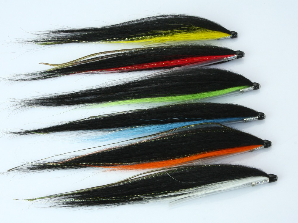 Tube Fly Skinny Sunray Shadow Salmon Flies (8-pack) Total lenght 16cm, tied on 50mm Plastic Tubes salmon
