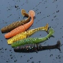 5 pièces/lot 70mm 3g Silicone T queue souple leurre eau salée basse carpe matériel de pêche Isca artificiel Pesca vers pêche leurre Wobblers