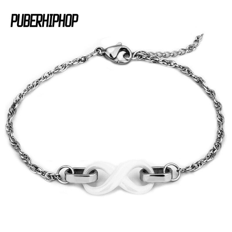New Elegant Number 8 Infinity Bracelet for Women Heahlty Material White Ceramic Charm Bracelet Daily Jewelry bileklik Elegant