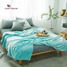 Slowdream Mint Green Flannel Blanket Throw Soft Print Winter Elegant Wrap Super Sleeping Bed 5 Size 1pcs