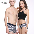 New 2016 Man Boxer Shorts Couples underwear Male Sweethearts outfit Cotton Young Fashion Striped Brand clothing Comfortable XXXL