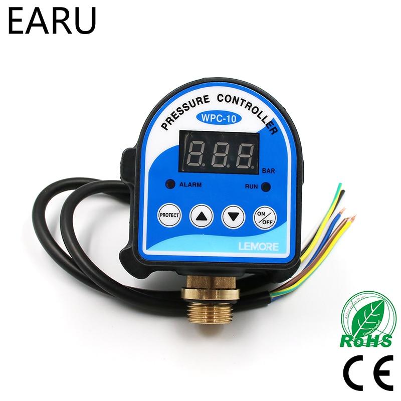 1 unid WPC-10 digital interruptor de presión digital WPC 10 electrónico regulador de presión para la bomba de agua con G1/ 2 adaptador