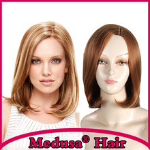 Medusa hair products: Beguiling bob styles Synthetic pastel wigs for women Medium length straight Mix color Mono wig SW0018A