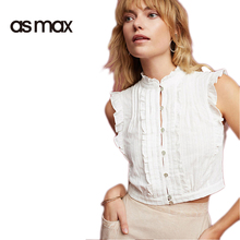 asmax Apparel 2017 Summer Women Shirts Blouse Casual Solid White Ruffles Female Shirts Chic Sleeveless Brief Ladies Blouse