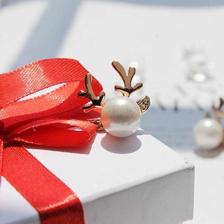Earrings Fashion Jewelry Imitation Pears Antlers Christmas Silver Earrings For Women Gift Fashion Jewellery China Stud Earrings