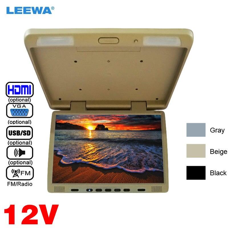 LEEWA Car DC12V Truck Bus 17 inch TFT LCD Roof Mounted Monitor Flip Down Monitor For Car DVD Player USB SD FM VGA Speaker HDMI