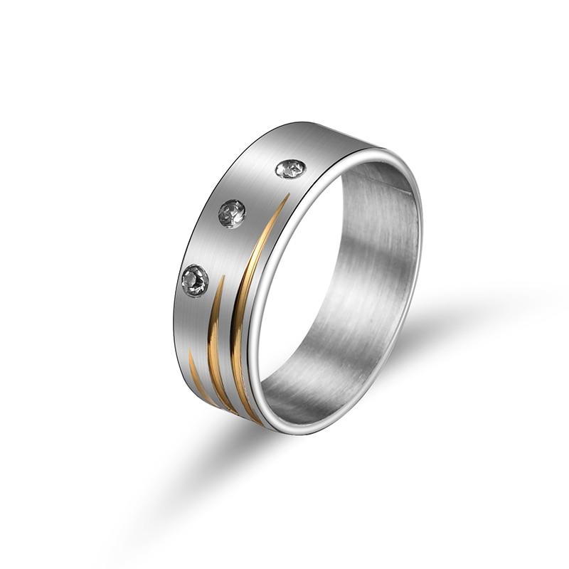 Female Zircon 316L Stainless Steel Wedding Rings For Women Silver Plated Crystal Stainless Engagement Finger Rings 2016 5-13