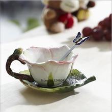 Pink rose cup ceramic cup Creative Teacup Set Coffee Cup Herbal Tea Set Cute Wedding Cup Saucer Spoon Combination