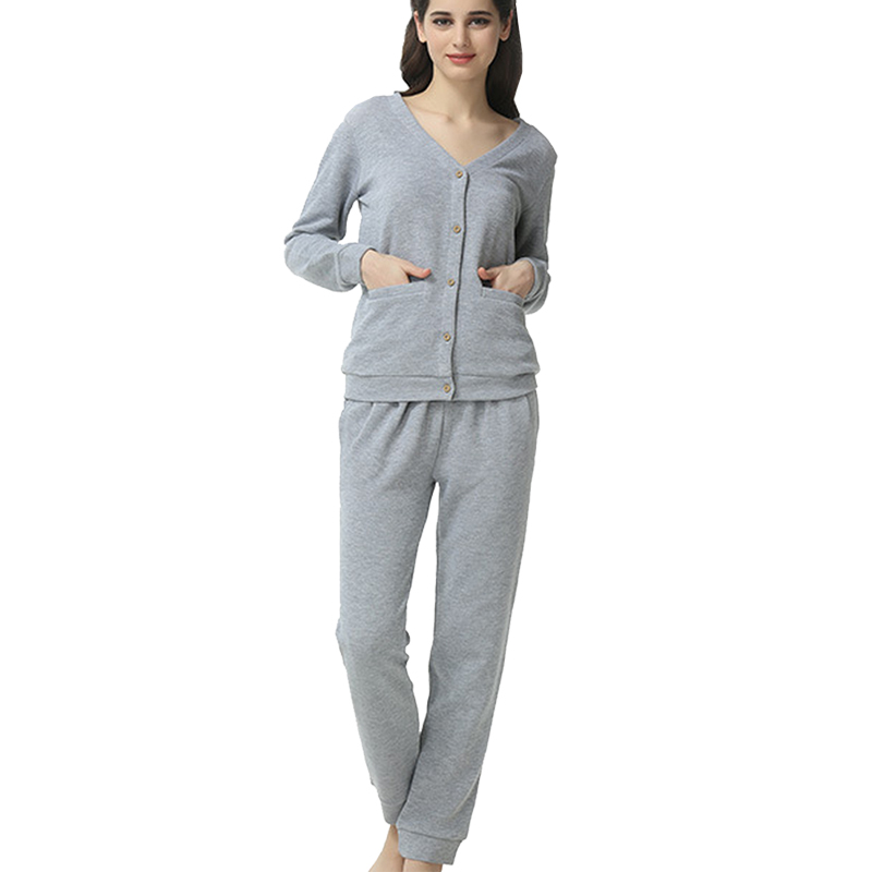 6d4ea9374103 Autumn and spring women s and mens couples 100%cotton comfort button up  cardigan pajamas sets PJ pants set soft sleepwear