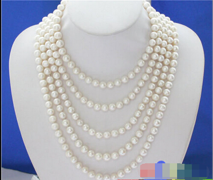 A LONG 100 9MM white ROUND FRESHWATER PEARL NECKLACE