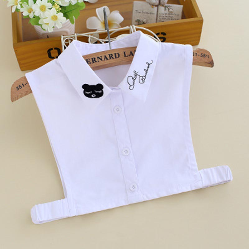 Kids Fake Collar Girls Children Embroidery Bear Detachable Collars Kraagie Cotton Faux Shirt Child Kraagie Nep False Collar