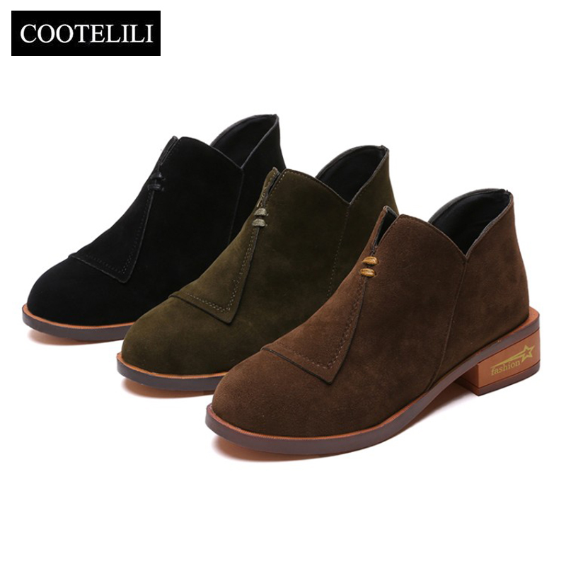 COOTELILI Ankle-Boots Heels Female Shoes Autumn Plus-Size Fashion Woman Rubber for 35-41