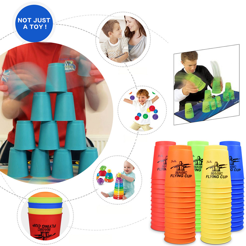Magic Cubes Sport Flying Cup Ufo Rapid Cups 12pcs Speed Cups With Net Bag Hand Lever Sports Special Toys Childrens Flying Cups