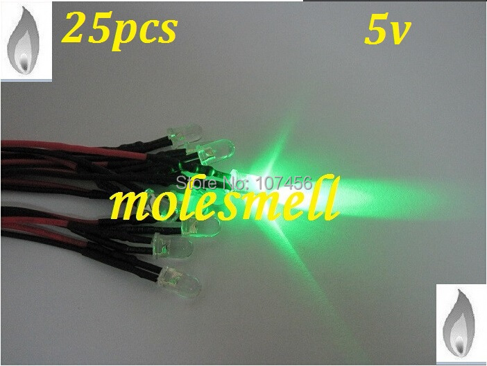 Free Shipping 25pcs 5mm Green Flicker 5V Pre-Wired Water Clear LED Leds Candle Green Light 20CM