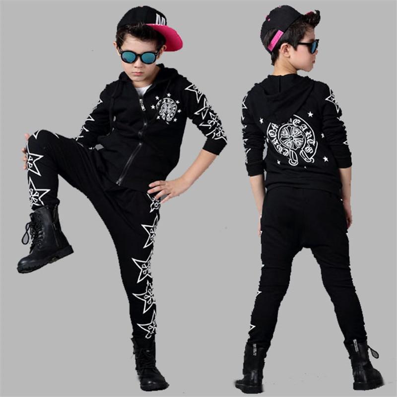 Подростковая одежда звезда шаблон наборы + шаровары 2 шт. дети одежда наборы для мальчиков/девочек одежда хип-хоп дети спортивные костюмы