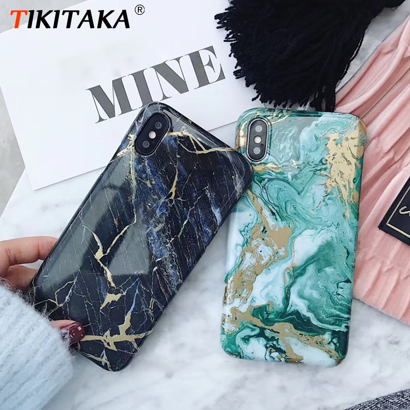 Luxury Green Black Marble Phone Case for Iphone X 10 Cover Soft TPU for Iphone XR XS Max 6s 6 7 7plus 8 8Plus 6 S Plus Case Capa(China)