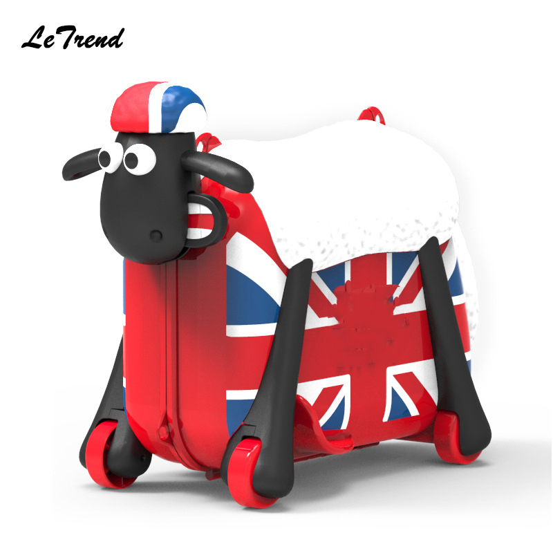 Cute Cartoon Sheep Shape Kids Ride-on Trolley Suitcase Wheels Solid Children Carry On Spinner Rolling Luggage Travel Bag