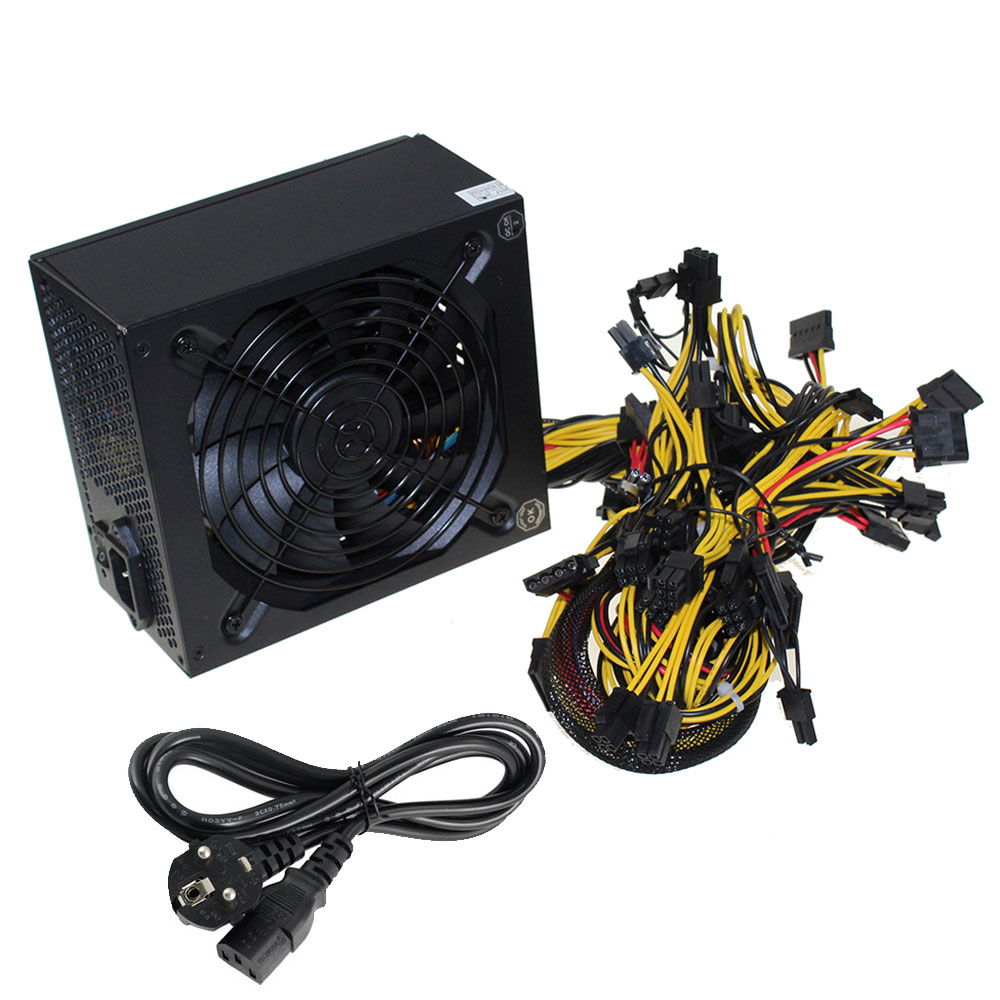 Miners Power Supply Fan Set 1600W 6 GPU output Including SATA port 4P 6P 8P 24P connectors Use FOR RX470 RX480 RX570 eu plug miners power supply fan set 1600w 12v 128a output including sata port 4p 6p 8p 24p connectors use for rx470 rx480 rx570