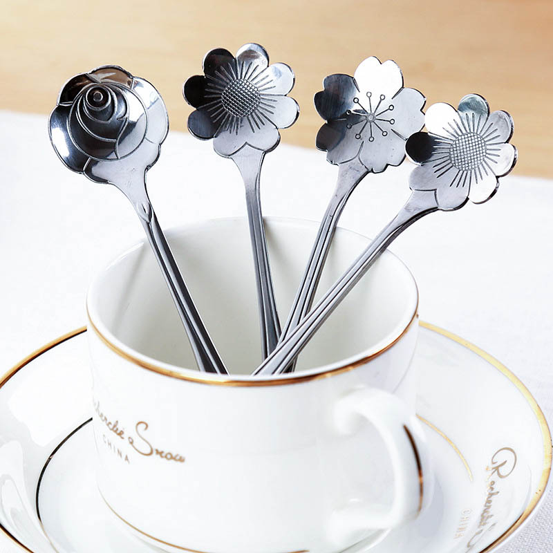 Coffee Spoon  Stirrers Tea Spoons Kitchen Tools Mug Cup Accessories Mixing Spoon Stainless Steel  1 pcs Flower Shape