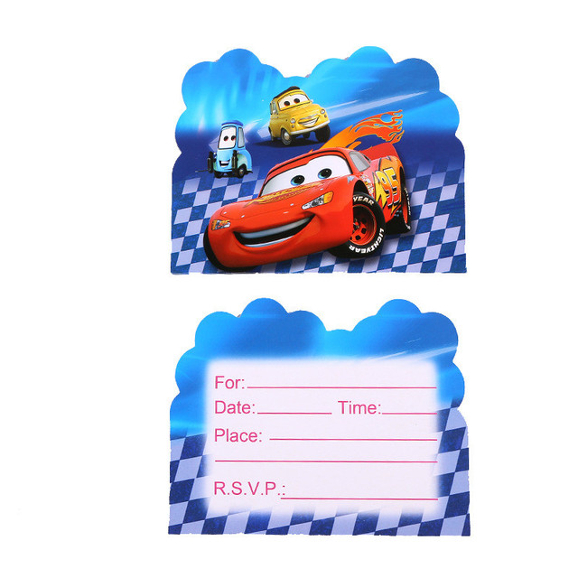 10pcs Lot Disney Lightning McQueen Cartoon Cars Birthday Card Mini Greeting Thank You