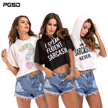 PGSD New Summer Simple Fashion printing Women Clothes Short-sleeved sexy Hooded short Sweatshirt female Frenulum Pullovers