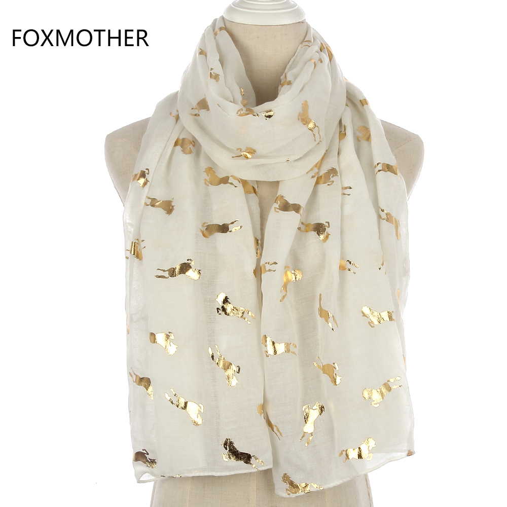 FOXMOTHER New Design Fashion Shiny Metallic White Pink Grey Foil Gold Glitter Running Horse Scarf Womens