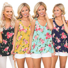 Summer new fashion halter vest strap casual loose tube top folds V-neck print female high waist womens clothing