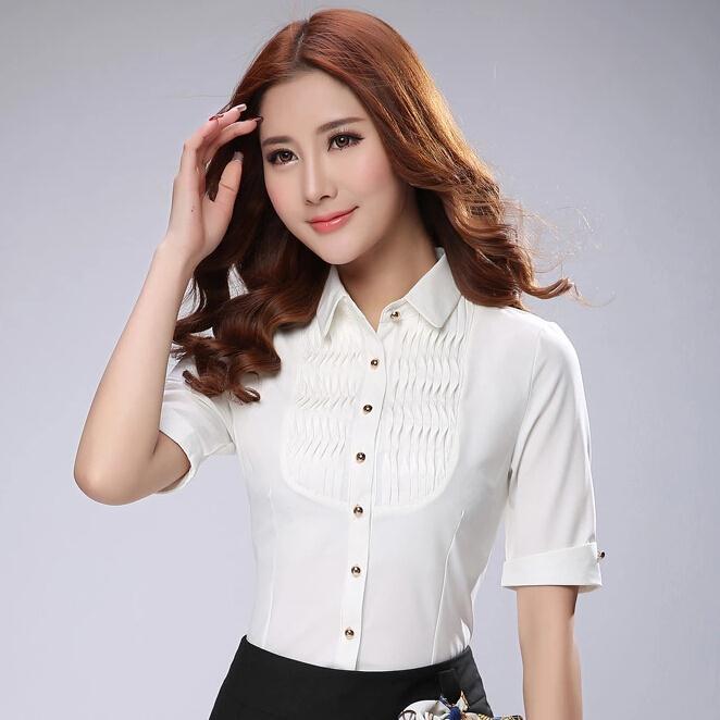 Blanco blusas para mujer nueva manga corta cuello de