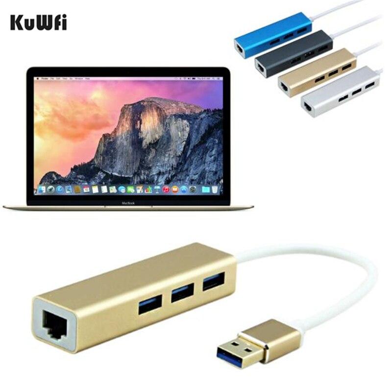KuWFi USB3.0 Hub Gigabit Ethernet Network Adapter+3 Port Hub USB 3.0 To RJ45 10/100/1000M Lan Card For Macbook Windows 10 high speed usb 3 1 type c to gigabit ethernet network usb 3 0 hub 3 port cable lan adapter for apple macbook