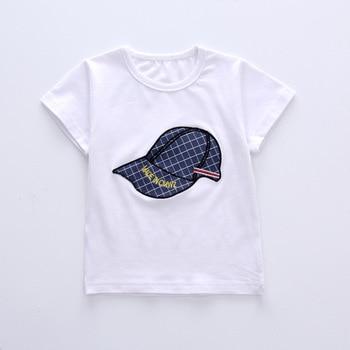 Newborn cap style white t-shirt+short 2pcs set 3